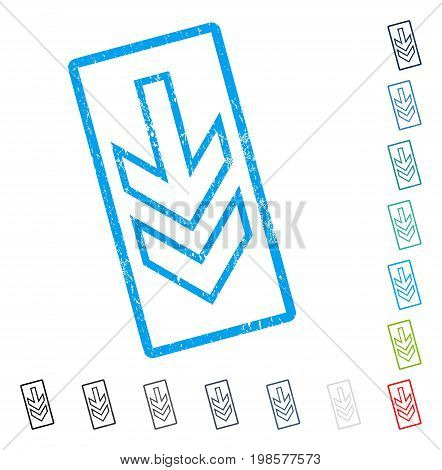 Direction Down rubber watermark in some color versions.. Vector pictogram symbol inside rounded rectangular frame with grunge design and unclean texture. Stamp seal illustration, unclean sign.