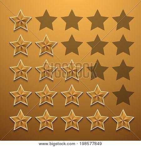 Vector modern gold star rating set background