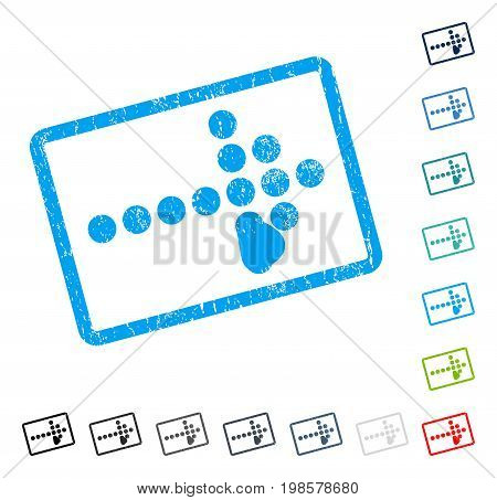 Dotted Arrow Right rubber watermark in some color versions.. Vector pictogram symbol inside rounded rectangle with grunge design and scratched texture. Stamp seal illustration, unclean sticker.