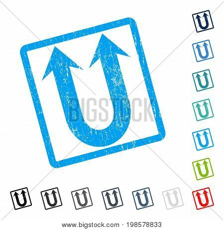 Double Forward Arrow rubber watermark in some color versions.. Vector pictogram symbol inside rounded rectangle with grunge design and dust texture. Stamp seal illustration, unclean sticker.