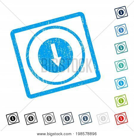 Down Rounded Arrow rubber watermark in some color versions.. Vector pictogram symbol inside rounded rectangle with grunge design and dust texture. Stamp seal illustration, unclean emblem.