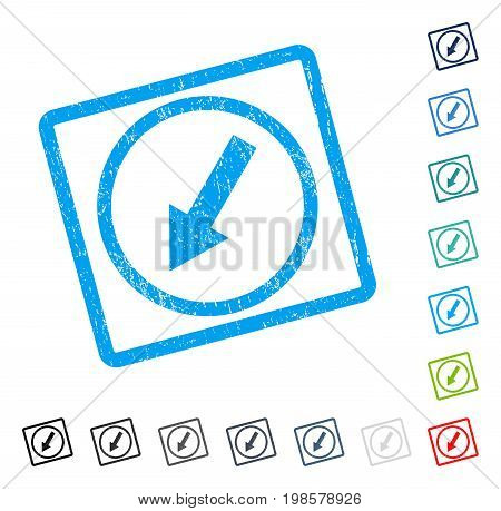 Down-Left Rounded Arrow rubber watermark in some color versions.. Vector icon symbol inside rounded rectangular frame with grunge design and unclean texture. Stamp seal illustration, unclean sticker.