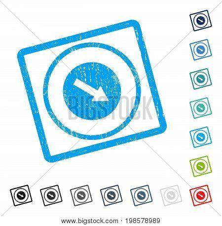 Down-Right Rounded Arrow rubber watermark in some color versions.. Vector icon symbol inside rounded rectangle with grunge design and dust texture. Stamp seal illustration, unclean sign.