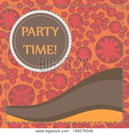 Round frame of brown color over hand drawn elements seamless background. Childish Party Poster. Flyer, Greeting Card, Invitation, Menu Design Template. Vector illustration