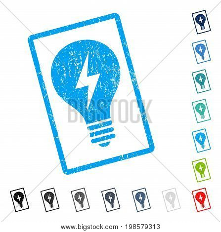 Electric Bulb rubber watermark in some color versions.. Vector pictogram symbol inside rounded rectangle with grunge design and dust texture. Stamp seal illustration, unclean sign.