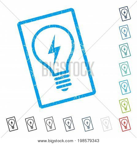 Electric Bulb rubber watermark in some color versions.. Vector icon symbol inside rounded rectangle with grunge design and dirty texture. Stamp seal illustration, unclean sticker.