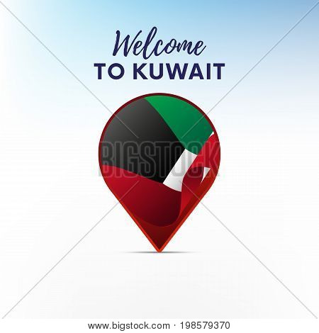 Flag of Kuwait in shape of map pointer or marker. Welcome to Kuwait. Vector illustration.