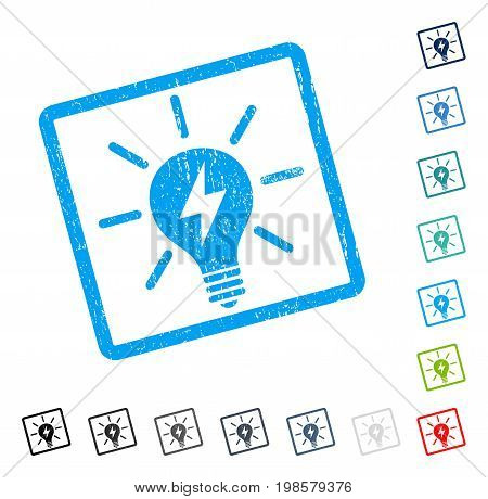 Electric Light Bulb rubber watermark in some color versions.. Vector pictogram symbol inside rounded rectangular frame with grunge design and dust texture. Stamp seal illustration, unclean sign.