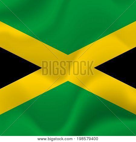 Jamaica flag background. Waving flag. Vector illustration.