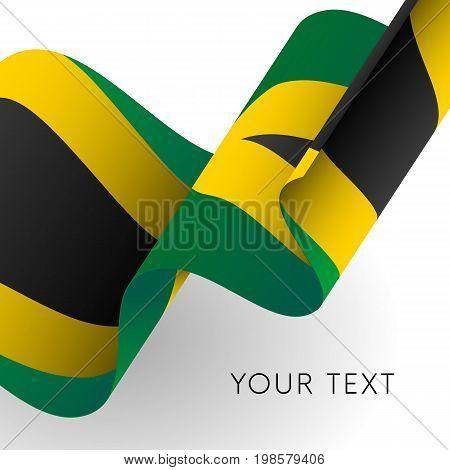 Jamaica flag. Patriotic design. Waving flag. Vector illustration.
