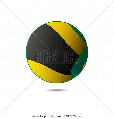 Jamaica flag button with shadow on a white background. Vector illustration.