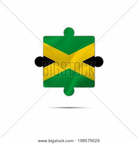 Isolated piece of puzzle with the Jamaica flag. Vector illustration.