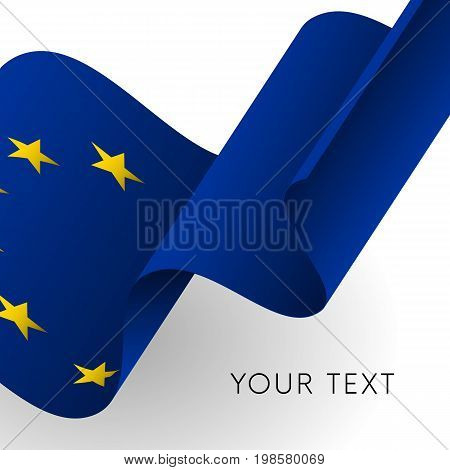 Europe flag. Patriotic design. Text template. Vector illustration.