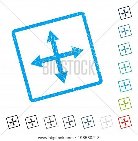 Expand Arrows rubber watermark in some color versions.. Vector pictogram symbol inside rounded rectangular frame with grunge design and dirty texture. Stamp seal illustration, unclean sticker.