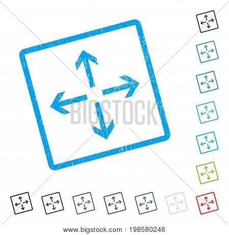 Expand Arrows rubber watermark in some color versions.. Vector pictogram symbol inside rounded rectangular frame with grunge design and dirty texture. Stamp seal illustration, unclean emblem.