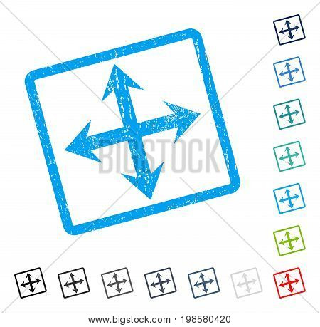 Expand Arrows rubber watermark in some color versions.. Vector pictogram symbol inside rounded rectangle with grunge design and unclean texture. Stamp seal illustration, unclean sign.