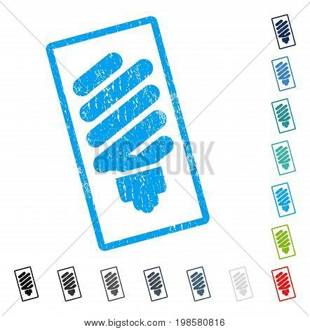 Fluorescent Bulb rubber watermark in some color versions.. Vector icon symbol inside rounded rectangular frame with grunge design and unclean texture. Stamp seal illustration, unclean sign.