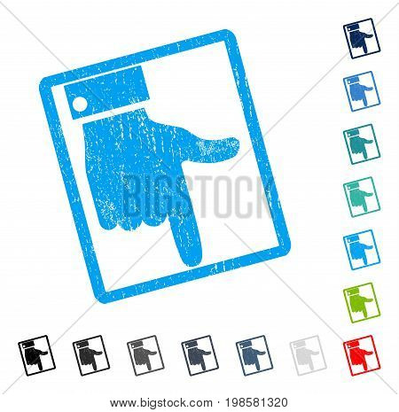 Hand Pointer Down rubber watermark in some color versions.. Vector icon symbol inside rounded rectangle with grunge design and dust texture. Stamp seal illustration, unclean sign.