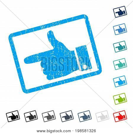 Hand Pointer Left rubber watermark in some color versions.. Vector icon symbol inside rounded rectangular frame with grunge design and dirty texture. Stamp seal illustration, unclean sign.