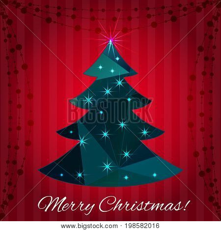 Greeting card with sparcling Christmas tree. Vector illustration.