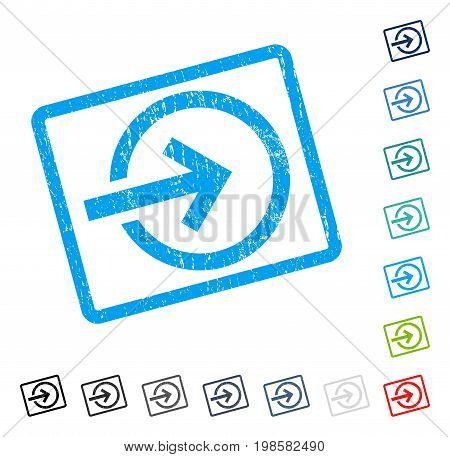 Import rubber watermark in some color versions.. Vector pictogram symbol inside rounded rectangular frame with grunge design and dirty texture. Stamp seal illustration, unclean sign.