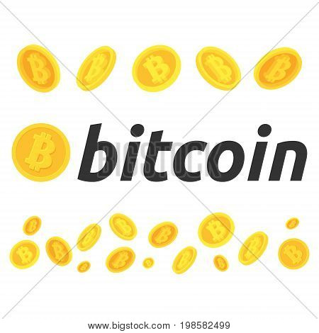 A few bitcoin in flight. Cryptocurrency bitcoin stock market and business.