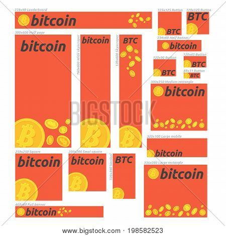 Bitcoin digital currency vector banner set. Banners for bitcoin stock market and business investing making money profit cryptocurrency. For web design banners promotional materials etc