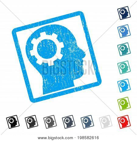 Intellect Gear rubber watermark in some color versions.. Vector pictogram symbol inside rounded rectangular frame with grunge design and unclean texture. Stamp seal illustration, unclean sign.