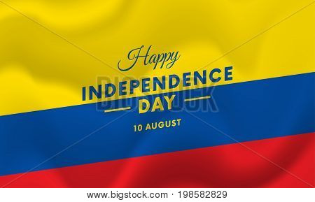 Ecuador Independence Day. 10 august. Waving flag. Vector illustration.