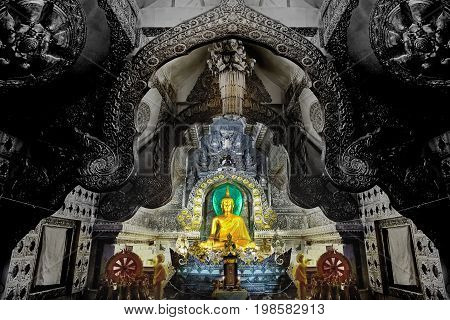 Chiang Mai Thailand 23 Jan 2016Beautiful Buddha image is stituate in silver hall at Wat Si SuphanChiang Mai Image contain certain grain or noise and soft focus.