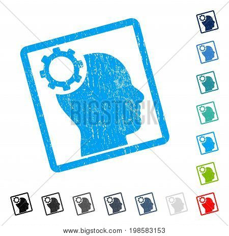 Intellect Gear rubber watermark in some color versions.. Vector pictogram symbol inside rounded rectangular frame with grunge design and dirty texture. Stamp seal illustration, unclean sign.