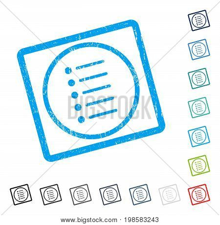 Items rubber watermark in some color versions.. Vector pictogram symbol inside rounded rectangular frame with grunge design and unclean texture. Stamp seal illustration, unclean sticker.