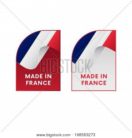 Stickers Made in France. Waving flag. Vector illustration.