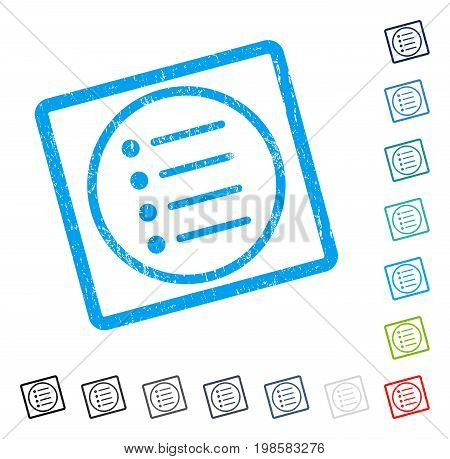 Items rubber watermark in some color versions.. Vector icon symbol inside rounded rectangle with grunge design and scratched texture. Stamp seal illustration, unclean emblem.