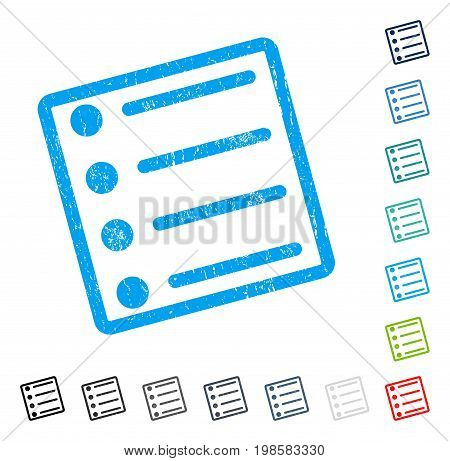 Items rubber watermark in some color versions.. Vector icon symbol inside rounded rectangular frame with grunge design and scratched texture. Stamp seal illustration, unclean sign.