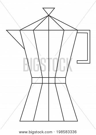 This is a vector illustration of a coffee pot. A black and white line drawing.