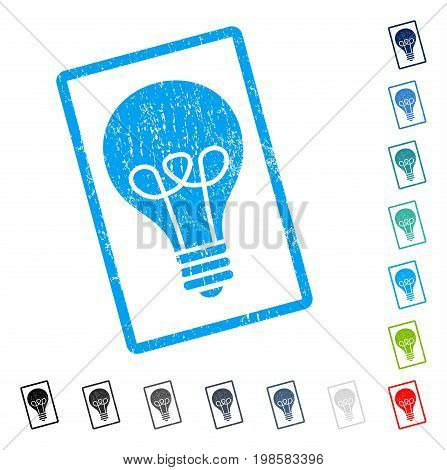 Lamp Bulb rubber watermark in some color versions.. Vector icon symbol inside rounded rectangle with grunge design and dirty texture. Stamp seal illustration, unclean sign.