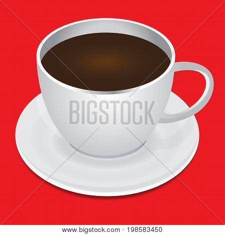 White cup of hot coffee and saucer
