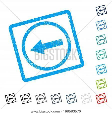 Left Rounded Arrow rubber watermark in some color versions.. Vector pictogram symbol inside rounded rectangle with grunge design and dirty texture. Stamp seal illustration, unclean sticker.