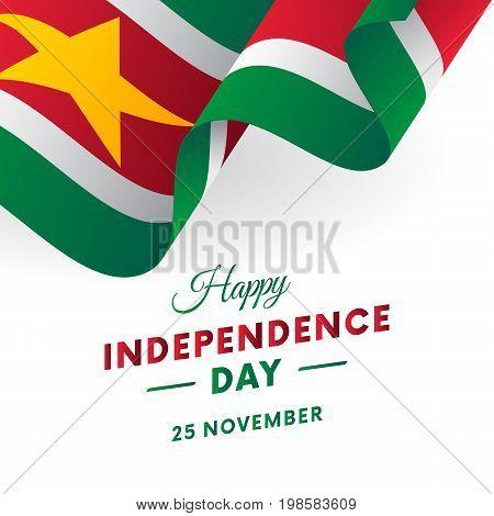 Suriname Independence Day. 25 November. Waving flag. Vector illustration.
