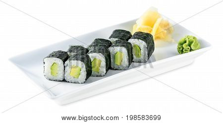 Rolls With Avocado - Avocado Maki Plate Isolated On White