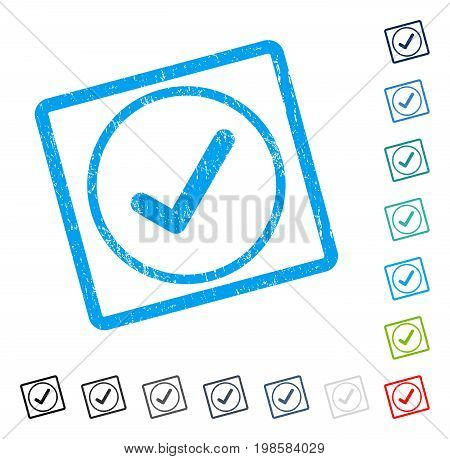 Ok rubber watermark in some color versions.. Vector pictogram symbol inside rounded rectangular frame with grunge design and scratched texture. Stamp seal illustration, unclean sign.