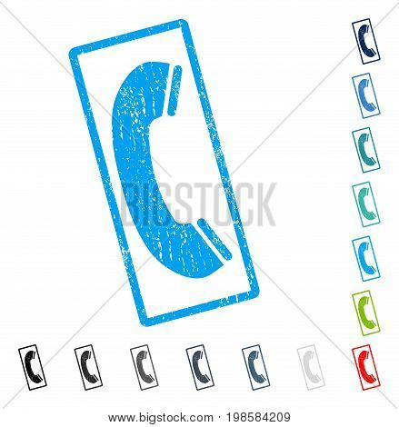 Phone Receiver rubber watermark in some color versions.. Vector icon symbol inside rounded rectangle with grunge design and dirty texture. Stamp seal illustration, unclean sign.