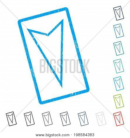 Pointer Down rubber watermark in some color versions.. Vector icon symbol inside rounded rectangular frame with grunge design and dirty texture. Stamp seal illustration, unclean sticker.