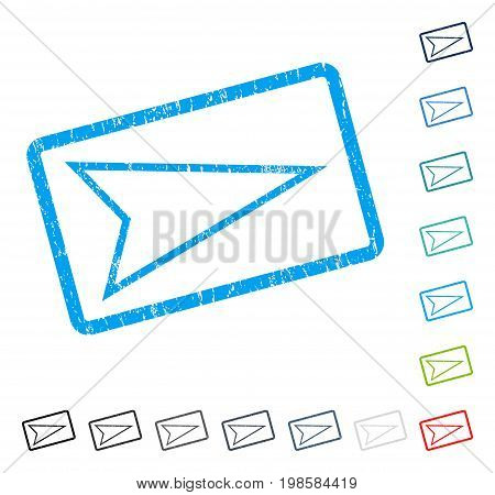 Pointer Right rubber watermark in some color versions.. Vector pictogram symbol inside rounded rectangle with grunge design and dirty texture. Stamp seal illustration, unclean sticker.