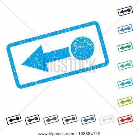 Pull Left rubber watermark in some color versions.. Vector pictogram symbol inside rounded rectangle with grunge design and dust texture. Stamp seal illustration, unclean emblem.