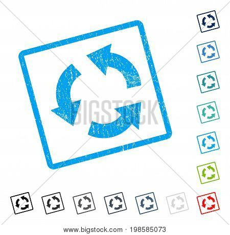 Recycle rubber watermark in some color versions.. Vector pictogram symbol inside rounded rectangular frame with grunge design and dust texture. Stamp seal illustration, unclean sign.