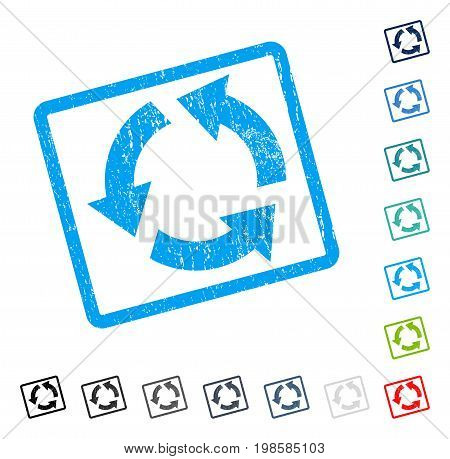 Recycle rubber watermark in some color versions.. Vector icon symbol inside rounded rectangle with grunge design and unclean texture. Stamp seal illustration, unclean sticker.