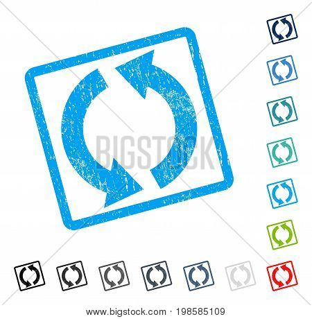 Recycle rubber watermark in some color versions.. Vector icon symbol inside rounded rectangle with grunge design and scratched texture. Stamp seal illustration, unclean emblem.