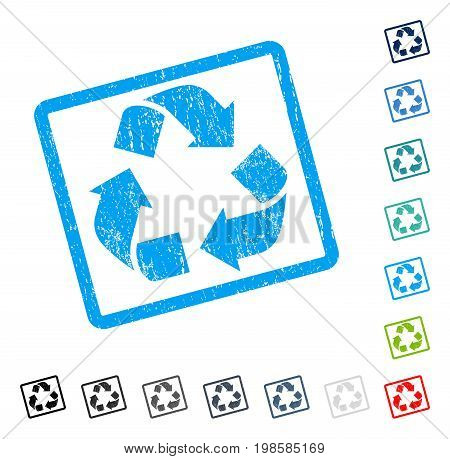 Recycle rubber watermark in some color versions.. Vector icon symbol inside rounded rectangular frame with grunge design and unclean texture. Stamp seal illustration, unclean emblem.
